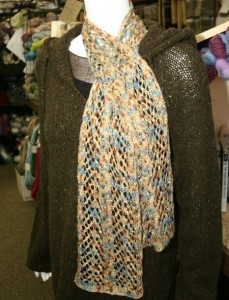 Picture Arrowhead Lace and Cable Scarf Knitting Pattern