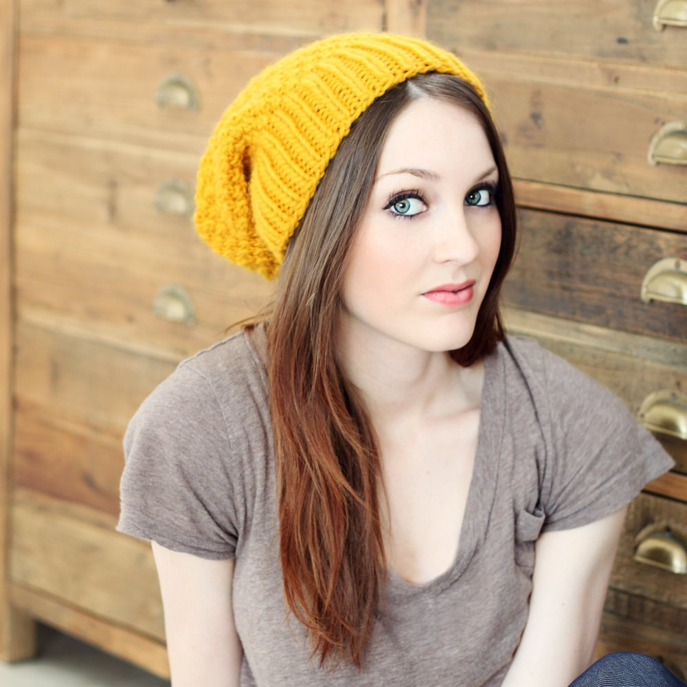 Slouchy Hat Knit Pattern : Slouchy Beanie Knit Pattern A Knitting Blog