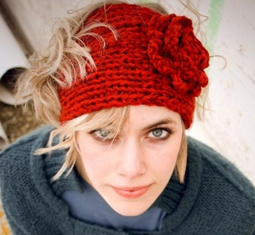 Knitted Headbands Pattern : Knitted Headband with Flower Patterns A Knitting Blog