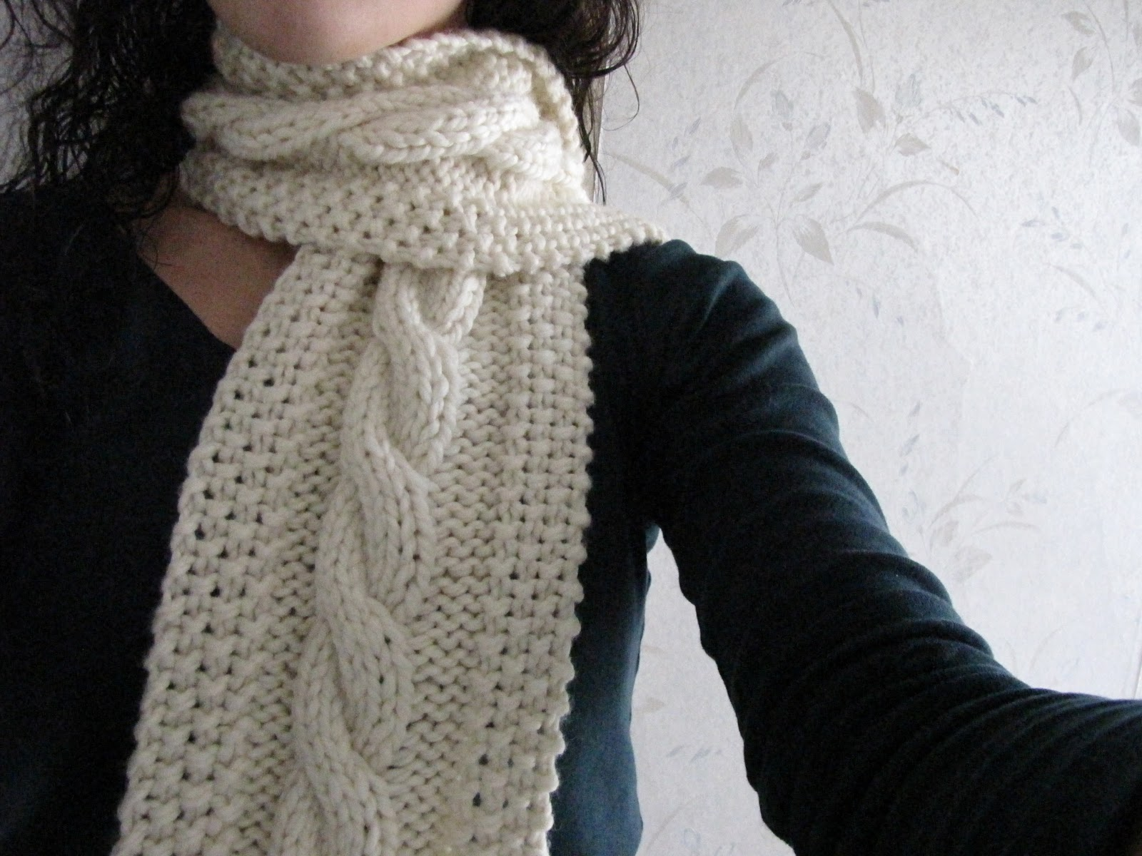 Knitting Scarves Free Patterns : Cable Knit Scarf Pattern A Knitting Blog