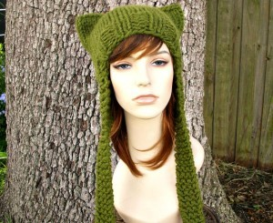 Ear Flap Cat Hat Chunky Knit Pattern Images