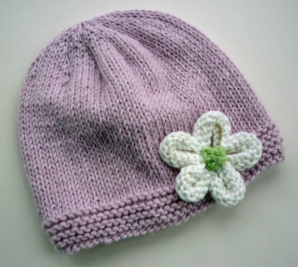 Knitting Hat Patterns Easy : Knit Hat with Flower Patterns A Knitting Blog