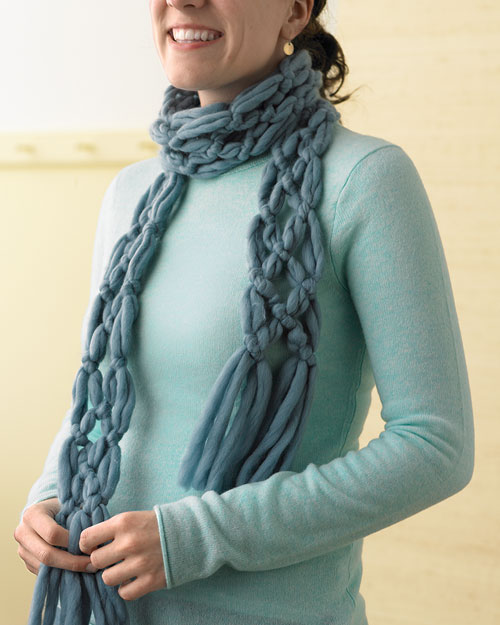 Knitting Scarf Tutorial : Finger knitting scarf pattern a
