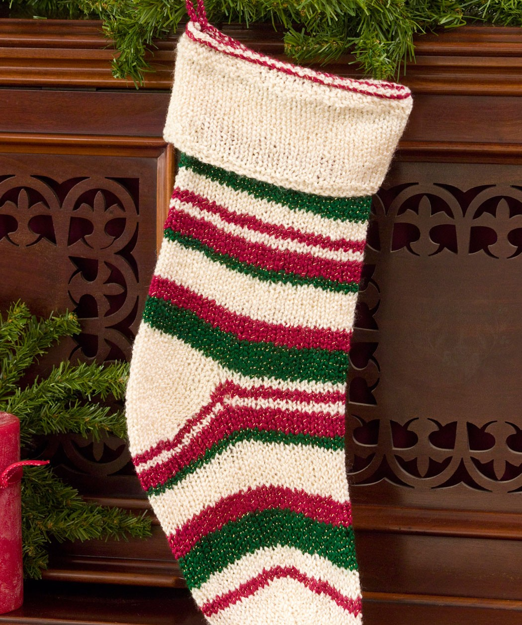 Knit Pattern Christmas Stocking : The gallery for --> Cable Knit Christmas Stockings