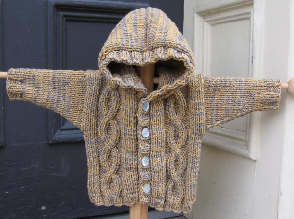 Baby Hooded Cardigan Sweater Knitting Pattern English Sweater Vest