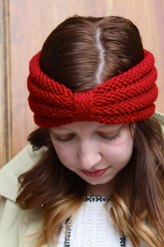 Knitted Headbands Pattern : Knitted Headband with Bow Pattern A Knitting Blog