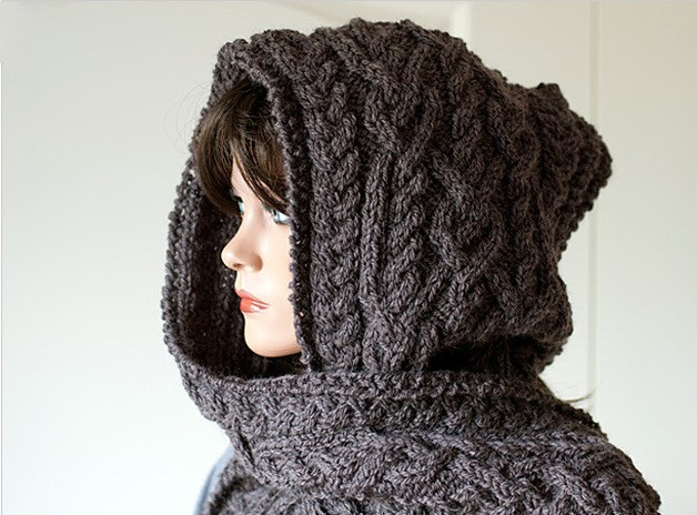 Easy Knitted Hooded Scarf Pattern Free : Hooded Scarf Knitting Pattern A Knitting Blog