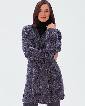 Free Crochet Pattern Wrap Sweater : Long Boucle Wrap Chunky Sweater Knitting Pattern Photo ...