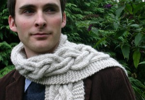 Mens Chunky Knitted Cable Scarf Knitting Pattern Image