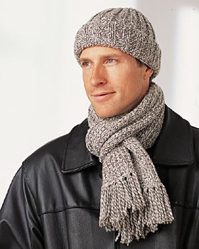 Men's Winter Hat and Scarf Knitting Pattern Images