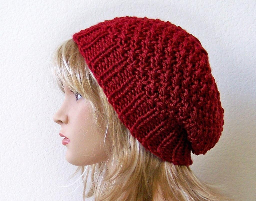 Knitting Patterns For Hats : Slouchy Beanie Knit Pattern A Knitting Blog