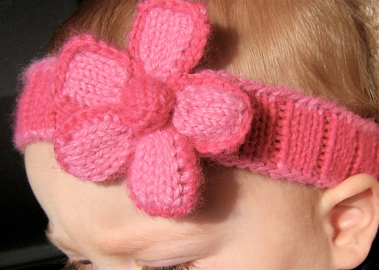 Knitted Baby Headband Pattern Easy : Knitted Headband with Flower Patterns A Knitting Blog