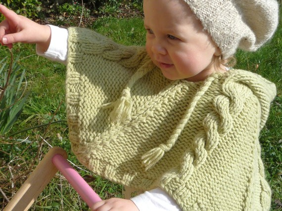 Easy Kids Knit Poncho LONG HAIRSTYLES