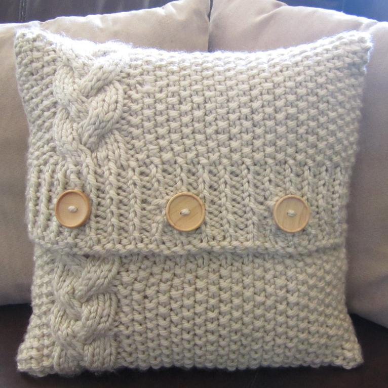 Chunky Knit Cushion Cover Cable Knit Pillow Cover Super Chunky Dark Brown H...