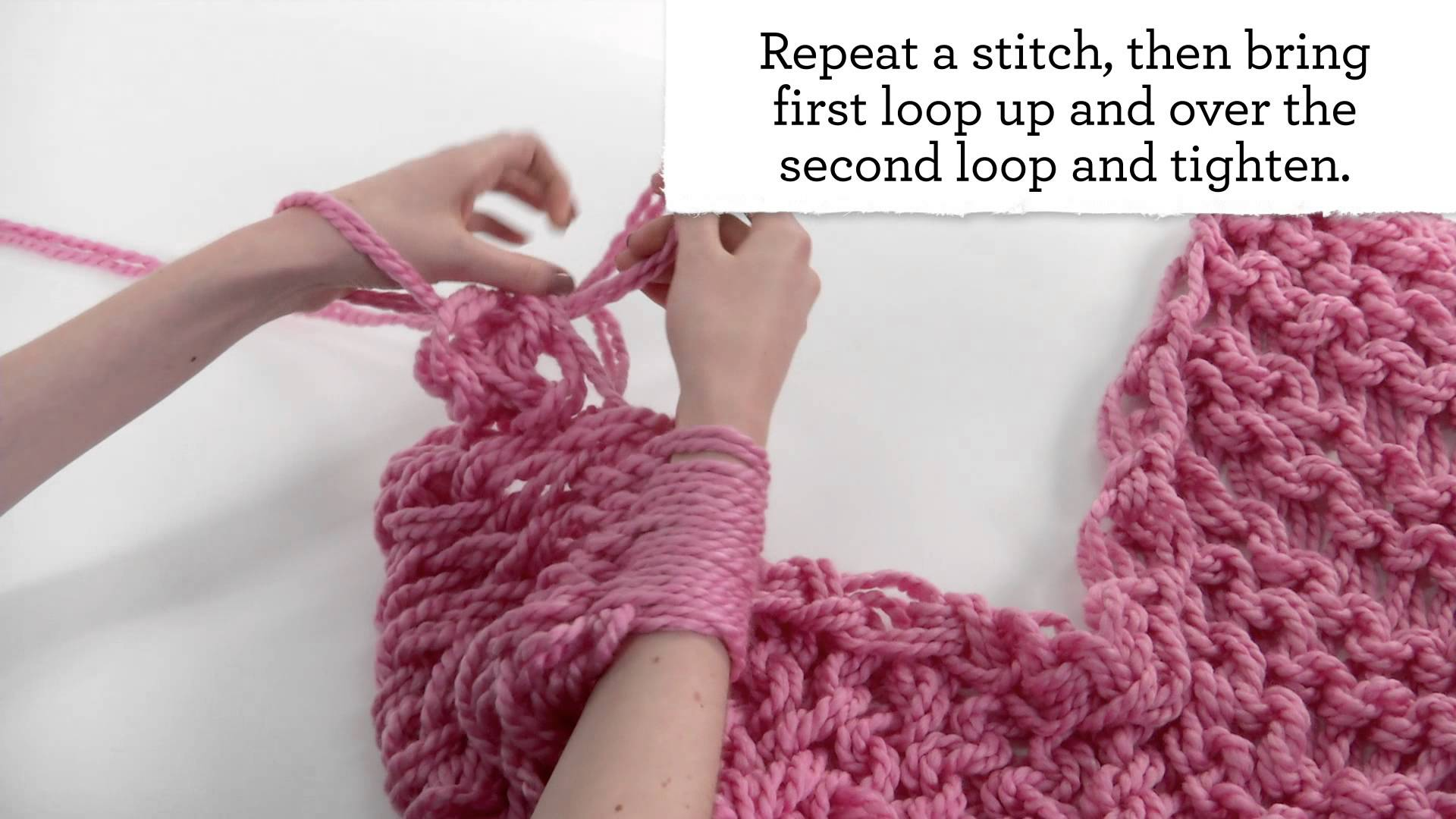 Crocheting Using Your Arms : of the color of your choice and your arms and you are ready to begin