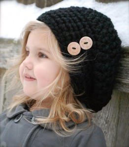 Pictures of Buttoned Black Knit Beanie Patterns